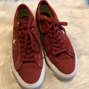 Converse red suede sneakers size 9